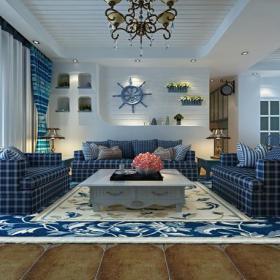白色蓝色酒柜吧台地中海风格客厅装修效果图