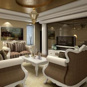 客厅吊顶电视背景墙欧式风格起居室装修效果图