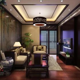 吊顶电视背景墙中式风格起居室装修效果图