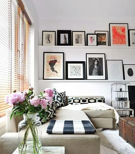 样板房时尚90平米精装起居室背景墙装饰画效果图