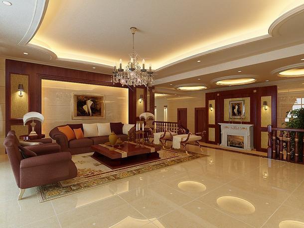 客廳歐式風格別墅起居室吊頂裝修效果圖,歐式風格沙發圖片