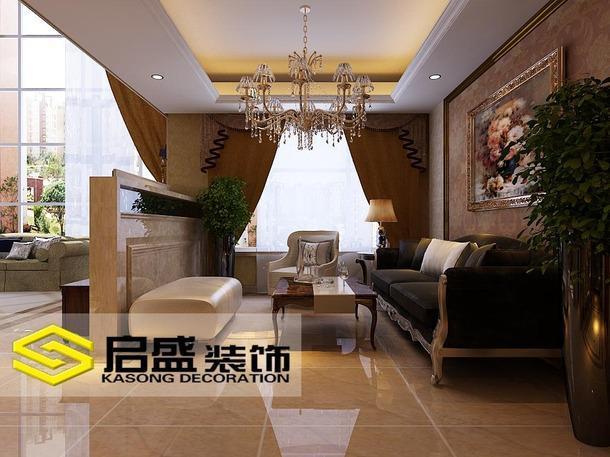 客厅吊顶欧式别墅装修起居室效果图