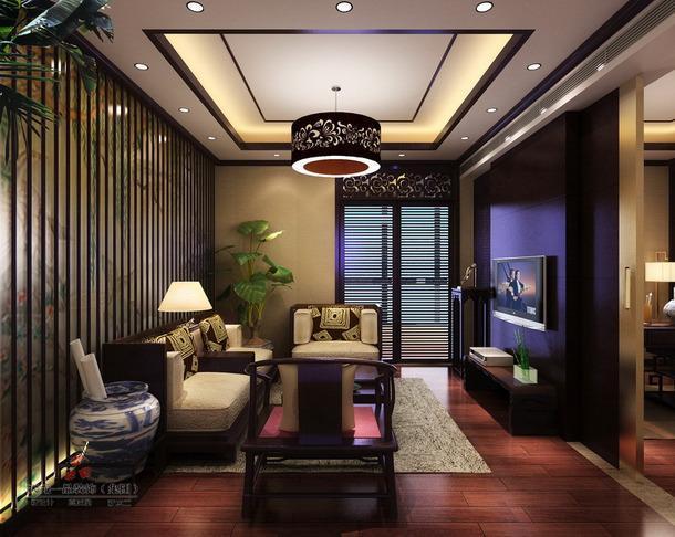 吊頂電視背景墻中式風格起居室裝修效果圖