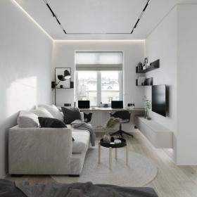 小戶型客廳書房一體裝修圖片