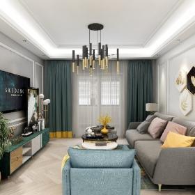 三居室混搭風格客廳吊頂裝修圖片