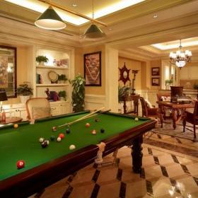 118平现代美式别墅台球室效果图