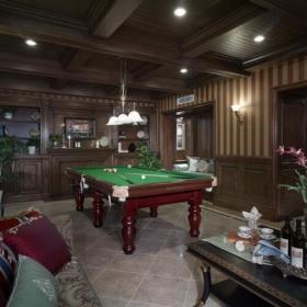 92平美式古典风格台球室效果图