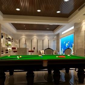 欧式别墅休闲区台球桌图片