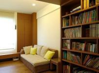 餐厅书房简约风格二居室10-15万90平米客厅地台书架新房家装图效果图
