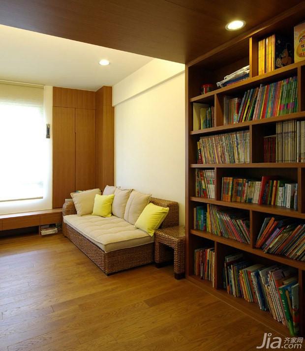 简约风格二居室10-15万90平米客厅地台书架新房家装图