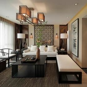 壁纸椅凳窗帘吊灯茶几背景墙沙发85㎡二居室新中式风格客厅背景墙装修效果图新中式风格茶几图片