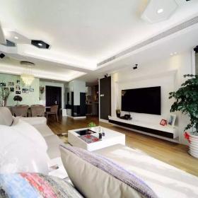 大气个性的客厅白色电视墙设计效果图欣赏