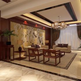 双人沙发沙发新中式地毯吊灯地毯客厅吊灯三居客厅沙发背景墙装修效果图