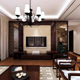 实木茶几吊灯椅凳客厅吊顶新中式风格客厅电视背景墙装修效果图新中式风格实木电视柜图片