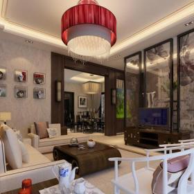 新中式风格客厅背景墙装修效果图新中式风格吊灯图片