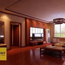 地柜新中式吊灯过道茶几大户型客厅电视背景墙装修效果图
