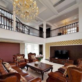 茶几沙发跃层客厅美式风格装修的别墅效果图