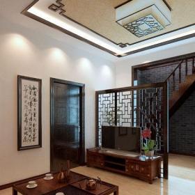 中式风格跃层客厅装修效果图