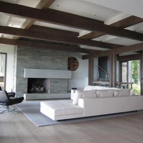 120㎡吊顶别墅跃层客厅沙发极简艺术打动人心的简约家装效果图