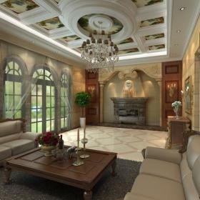 休闲娱乐间美式客厅吊顶电视背景墙地下室效果图