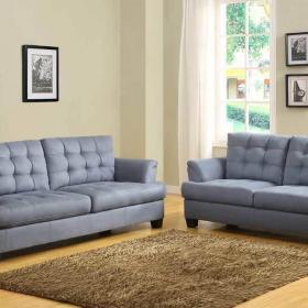 20平米客厅软包蓝色沙发图片效果图