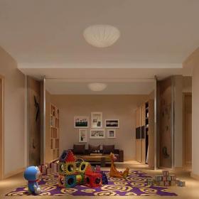 地下室装饰画客厅家具简约地毯玩偶大户型地下交换休闲空间装修效果图