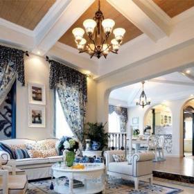 地中海风格跃层客厅沙发装修效果图
