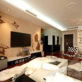 时尚客厅电视墙蝴蝶壁纸装扮效果图大全