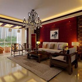 沙发椅实木茶几中式沙发吊灯中式新古典风格客厅沙发背景墙装修效果图中式新古典风格沙发图片