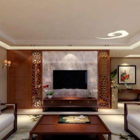 一层古典主义地下室新中式风格别墅客厅吊顶装修效果图大全
