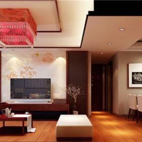 装饰画地柜新中式吊灯茶几过道交换空间客厅电视背景墙装修效果图