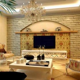吊顶146平欧式风格三居客厅电视背景墙装修效果图欧式风格樱桃木方茶几图片