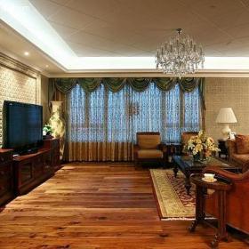 沙发椅水晶吊灯茶几窗帘简欧风格客厅电视背景墙装修效果图简欧风格电视柜图片