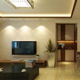 中式古典二居室客厅壁纸装修效果图