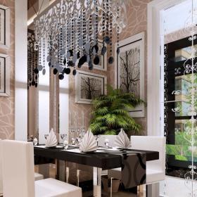 现代客厅带餐厅吊顶吊灯窗户装修设计效果图