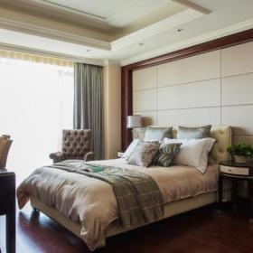双人床卧室家具卧室窗帘床卧室背景墙简约欧式别墅儿童房装修装修效果图