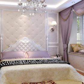 飘窗背景墙欧式卧室卧室背景墙简欧风格儿童房飘窗装修效果图