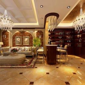 客厅吊顶欧式地下室起居室效果图