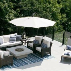 美式风格客厅复式二楼舒适白色简约露台花园装修效果图