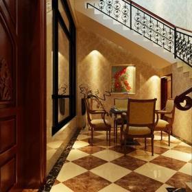 实木门地面拼花装饰画扶手家居摆件简约欧式风格地下室楼梯装修效果图简约欧式风格椅凳图片