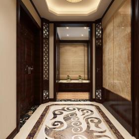 地面拼花新中式走廊吊灯大空间过道地面地砖装修效果图