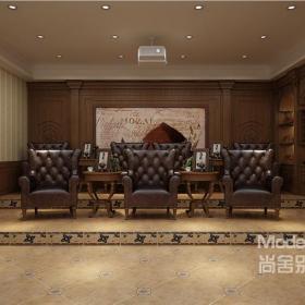 经典深棕色地下室休闲娱乐室装修效果图
