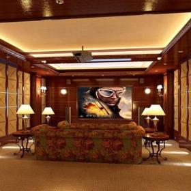 简欧风格地下室影音娱乐室背景墙装修效果图简欧风格沙发图片