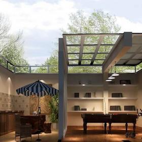 美式地下室台球桌别墅地下休闲娱乐室装修效果图