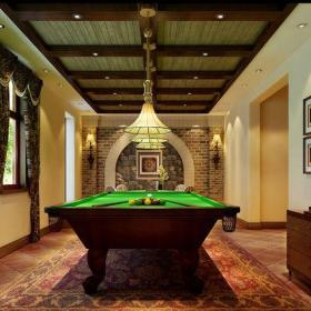 米色201平米以上别墅西式古典风格地下室台球娱乐室装修设计效果图
