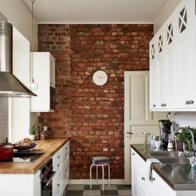 原木色白色41-60平米小户型北欧宜家风格厨房装修效果图
