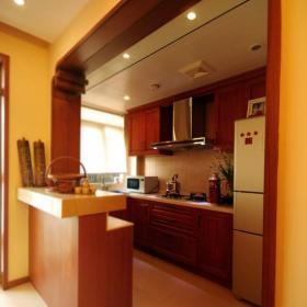 东南亚风格别墅原木色富裕型厨房吧台橱柜设计图效果图