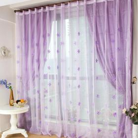 阳台紫色窗帘效果图