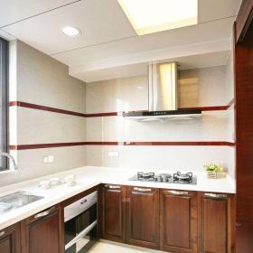 三居室原木色大气简约中式L型厨房设计效果图