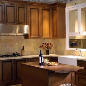 151-200平米中式古典154中式风格别墅原木色厨房吧台装修效果图